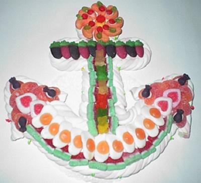 Gâteau de bonbons en forme d'ancre